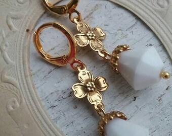 Dogwood, earrings, woodland wedding, forest wedding, jewelry, jewellery,  gold wedding earrings, assemblage earrings, gold flower earrings.