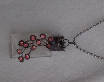 Soldered Vintage Mini Perfume Bottle Pendant Necklace with Pink Rhinestones