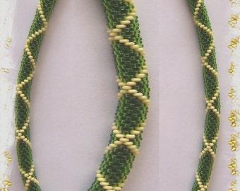 43 - Beaded Crochet Necklace - Kette - Perlenkette - Häkelkette