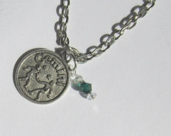 Gemini Birthstone Necklace, Charm Sun Sign May or June Crystal Jewelry, Gemini Zodiac Necklace, Astrological Jewelry,  Lt Amethyst, Emerald