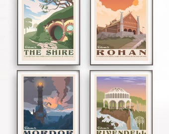 Set of 4 The Lord of the Rings poster. Tolkien wall art. Middle earth. The shire illustration. Retro travel poster. Mordor design. Rohan