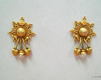 Vintage antique 20kt gold earrings stud earrings handmade gold jewelry