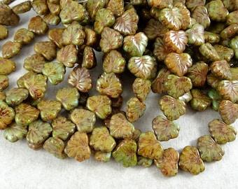 Czech Beads, Maple Leaf Beads - Czech Glass Beads - Rustic Glass Maple Leaf - Brown & Green Maple Leaf (L/RJ-2378) - 10x13mm - Qty. 8