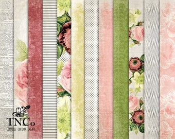 Floral Patterned digital paper pack, roses printable scrapbooking paper, vintage style paper download for commercial use projects.