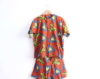 Bold African 90s Two Piece Outfit