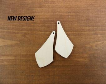 "Wood Triangle Dangle Earrings Laser Cut Wood 2"" H x 1 1/16"" W x 1/8"" - 10 Pieces"