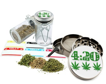"Leaf Design - 2.5"" Zinc Alloy Grinder & 75ml Locking Top Glass Jar Combo Gift Set Item # G022115-073"