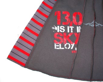 Sky Dive Arizona Tee Skirt - Sm womens MINI upcycled tshirt skirt Drop Zone Eloy Red Gray Stripes OOAK unique skirt upcycled clothing