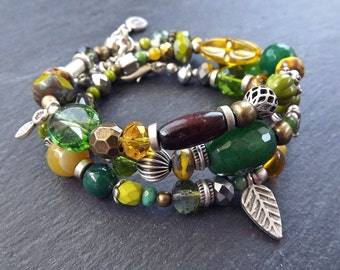 Olive Green Yellow Collage Beaded Layer Wrap Bracelet or Necklace Artisan Bead Art OOAK Handmade Jewelry - Colorful Bohemian Gypsy Jewelry