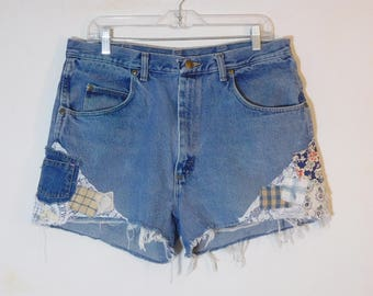 Boho Patched Jean Shorts, High Waisted, 36 Waist, Patches, Extra Pocket, Lace, Blue Denim, Plus Size, Patchwork, Frayed, Slimming