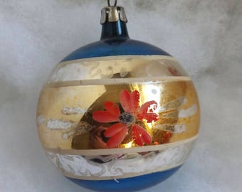 Vintage Poland Christmas ornament, mercury glass ornament, flower hand painted striped ornament, pink gold silver blue silver glitter