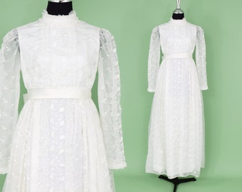 60s Wedding Dress | White Bridal Gown | Long Illusion Sleeve & Bow | Emma Domb | Small
