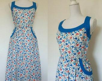 70s does 40s Cotton Sun Floral Dress size M