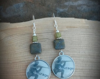Military Courage Sterling Silver Earrings, Green Courage Earrings, Military Green Sterling SIlver Earrings