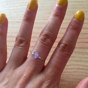 Dainty Amethyst & Rose Quartz (and other crystals) silver plated ring