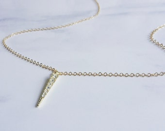 Tiny Gold Spear Dagger Necklace, Crystal Spear Dagger Necklace