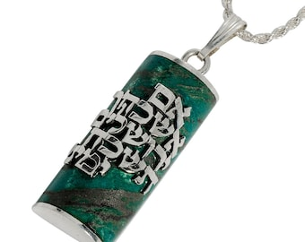 Sterling Silver Eilat Stone, Biblical Hebrew Verse, Judaica, Jerusalem Necklace, If I Forget Thee O Jerusalem, Im Eshkachech