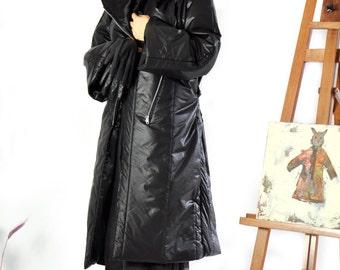 Long Black Waterproof Coat/Winter warm long Coat/Asymmetric winter coat/Two pockets/Zipper coat/Winter comfortable coat/Unique coat/C0246