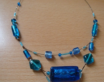 Necklace blue assorted beads