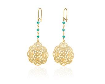 Oriental earrings gold boho earrings gold green onyx beads, boho earrings gold gemstone oriental earrings personalized earrings gold filled