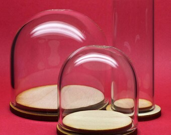 "39mm Glass display cloche dome with wood base for rings jewelry tinysaurs 1.375"" diameter borosilicate boro"