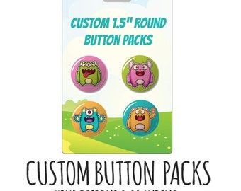 Custom Button Packs-  Custom Button Card, Retail Ready Button Packaging, pin packs, product packaging, pinback buttons, custom buttons, pins