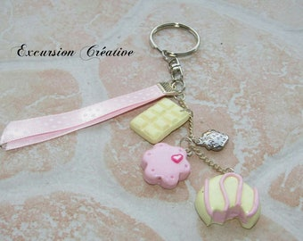"""Keychain """"strawberry milk sweets"""" Fimo made entirely by hand"""