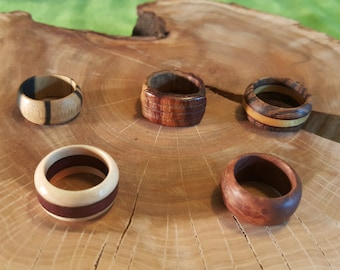 Wooden wedding bands, Wooden rings, Larger sized rings