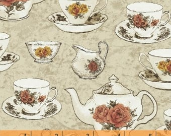 Afternoon Tea - Tea Cups Cream Beige by Whistler Studios from Windham Fabrics