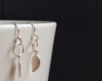 Leaf - petite leaf earrings - simple and dainty