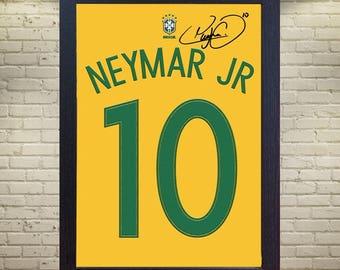 Neymar JR T-shirt Brazil 10 Paris Saint Germain signed CANVAS 100% cotton Framed