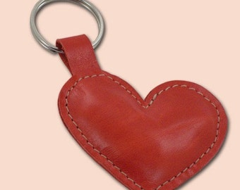 Leather Heart Keychain - FREE shipping