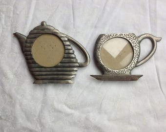 Tea Cup Pewter Picture Frames