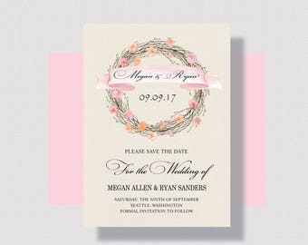 SAVE THE DATE Cards Blush Autumn Wreath   Shabby Chic Save the Date Card   Romantic Save the Date Cards   Rustic Save the Date Card Blush