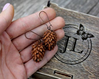 Cones Earrings - Cold Porcelain Earrings - Brown Earrings - Wood Handmade Cones Earrings - Little Cones Earrings