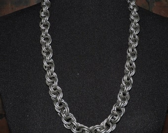 """32"""" Mens Chainmail Necklace 8 in 2 Spiral weave Large heavy rings"""