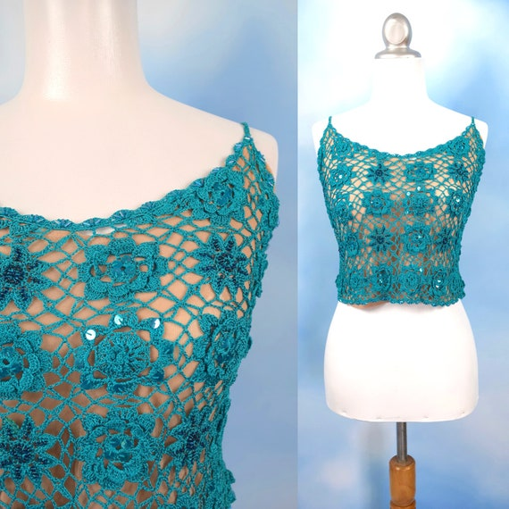 Vintage 90s Nicole Miller Turquoise Crocheted Beaded and Sequined Tank Top (size xs, small)