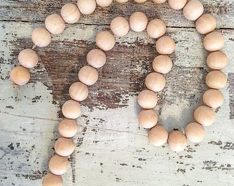 Farmhouse Decorative Wooden Beads. Wooden garland. Wooden beads. Farmhouse decor. Gifts for her. Joanna Gaines