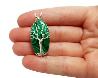 FREE SHIPPING Wire wrap tree of life pendant with genuine malachite gemstone