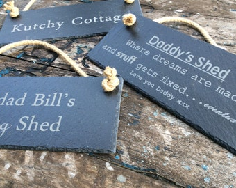 Hanging Personalised Slate House Gate Fence Sign