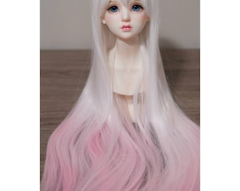BJD handmade gradient/ ombre color long straight wig white & pink