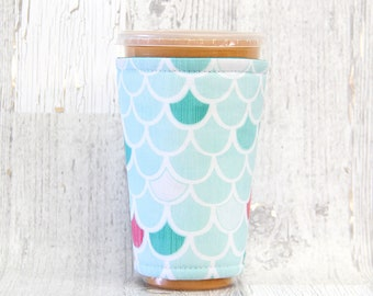 Blue Mermaid Cozy, Cup Cozy, Iced Coffee Cozy, Cup Sleeve, Mermaid Coffee Cozy, Coffee Cuff,