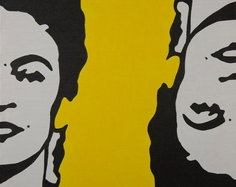 Two Fridas in Yellow Painting
