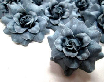 24 Gray Steel mini Roses Heads - Artificial Silk Flower - 1.75 inches - Wholesale Lot - for Wedding Work, Make Hair clips, headbands
