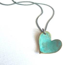 Small Verdigris Heart Necklace