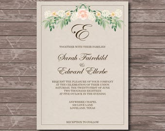 Simple Floral Wedding Invitation Printable