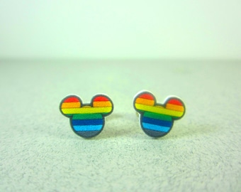 Mickey Mouse Rainbow Earrings, Mickey Mouse Jewelry, Disney Jewelry, Disney Earrings, Rainbow Earrings, Mickey Mouse Gift, Rainbow Birthday