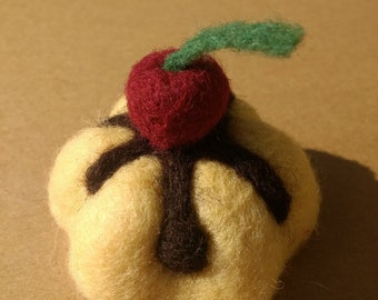 Needle Felt Sponge with Chocolate Sauce and a cherry on top