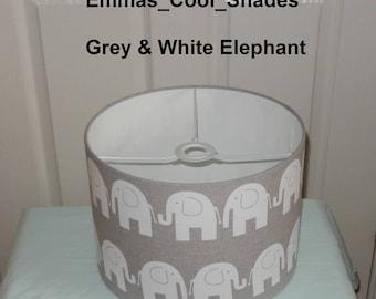 New Handmade Lampshade Elephant Grey and White Drum 20cm 30cm 40cm Bespoke Nursery Baby