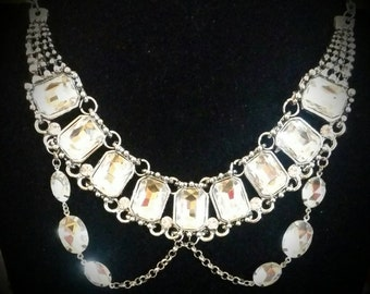 After Life Accessories Repurposed Silver Clear Rhinestone Statement Necklace